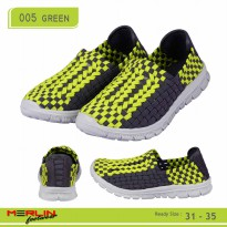 Merlin shoes-casual sneaker import-breathable-sepatu flyknit 005 green kids (UNISEX)