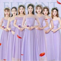 Bridesmaid model korea warna ungu gaun pesta