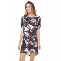 Minimal Nightfloral Layered Tunic BLACK