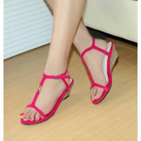 Wedges T-Strap Double Suede Fanta Nafiza