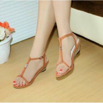 Wedges T-Strap Double Suede Tan Nafiza