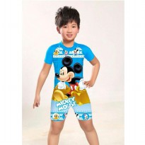SSJ1272- Swimsuit + Tutup Kepala. Blue Mickey