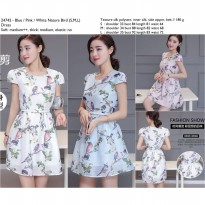blue,Pink,White Nature Bird (S,M,L) Dress -24742