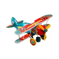 Acrobatic Bear Airplane Wind Up Tin Toys Diecast