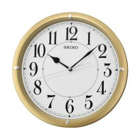 SEIKO QXA637G 32 cm Quiet Sweep Wall Clocks Black Jam Dinding