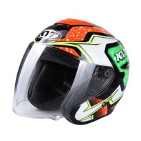 KYT #2 Kyoto Helm Half Face - Black Red Fluo Green Fluo