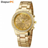Jam Tangan Geneva Simple Fashion Quartz Analog Stainless Steel Strap