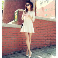 Dress Putih Short Tangan Panjang Bordir Best Quality (KK D 16)