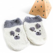 UCHII Baby Kids Animal Sock | Kaus Kaki Anak Dot Bulu White Dog Velvet
