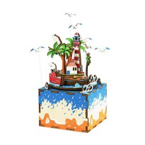 ROBOTIME AM407 DIY Music Box Series Lighthouse Puzzle - Multicolor