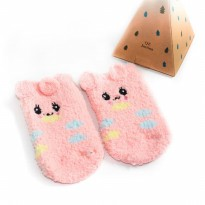 UCHII Baby Kids Animal Sock | Kaus Kaki Anak Dot Pink Butterfly Rubber