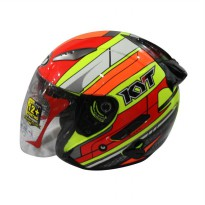 KYT Galaxy Slide Super Fluo ED Seri 2 Helm Half Face - Yellow Fluo/Red Fluo