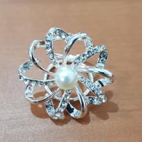 AKesoris Ring Hijab Cincin Silver Permata Imitasi -  Ring Princess