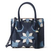 Michael Kors Mercer Floral Patchwor Bag - Blue (DB389 - Biru )