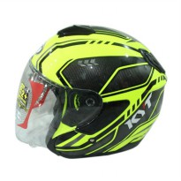 KYT Kyoto SPR Fluo CRBNZ EDT #1 Helm Half Face - Yellow Fluo