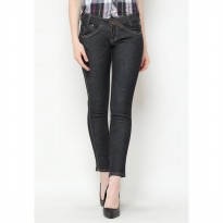 Mobile Power Ladies Slim Fit Long Pants Basic Jeans - Black T2638S