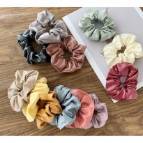 IK08 Ikat Rambut Scrunchie Pu Leather Hair Rubber Bands