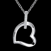 Kalung Hollow Heart White Gold Plated