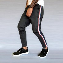 Helderdenim Celana Chino Stripe Pria Black HLN - Chino Stripe Pants
