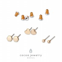 cocoa jewelry Anting SET Wanita Korea - Loving You Gold Color