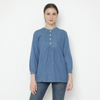 Mobile Power Ladies Babydoll Long Sleeve Blouse Denim - Blue JA8308
