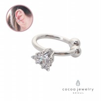 cocoa jewelry Anting Jepit Wanita Korea - Fiona Small Ear Cuff Silver Color NO BOX