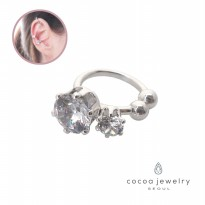 cocoa jewelry Anting Jepit Wanita Korea - Two Sure Today Ear Cuff Silver Color