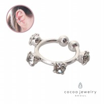 cocoa jewelry Anting Jepit Wanita Korea - Vintage Bowling Ear Cuff Silver Color
