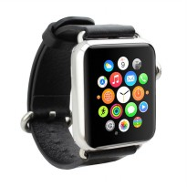 OEM Unisex Leather Strap for Apple Watch or iWatch 38 mm - Black