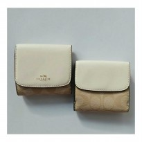 PROMO DOMPET COACH ORIGINAL - COACH TRIFOLD SMALL WALLET SIGN CHALK