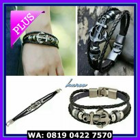 (Dijamin) gelang kulit pria wanita couple leather br.acelet with