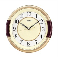 SEIKO QXA272G Wall Clock Jam Dinding - Metallic Gold Brown [31 cm]