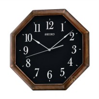 Seiko QXA599Z Octagonal Quiet Sweep Wall Clock Gold Jam Dinding - Brown [29 cm]