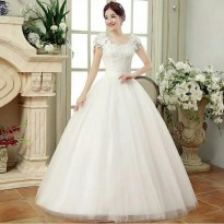 wedding dress gaun pengantin lengan pendek