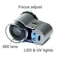 MINI MICROSCOPE LED 50X Plus Ultraviolet /Kaca Pembesar/Senter Batu SJ0041