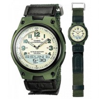 Jam Tangan Casio Original Dual Time Strap Kanvas AW-80V-1B Green