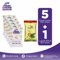 FiberCreme Sachet 100gr - 5 Pcs + Kopi Luwak Super Hemat Black Coffee Bag 165gr