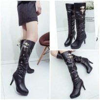 SHB908-black High Boots Import Elegan 9CM