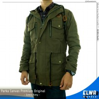 Jaket Parka Kanvas Original Distro Pria - Green Army