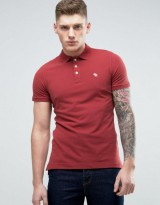 Abercrombie & Fitch Slim Fit Core Polo With Moose Embroidery In Burgundy