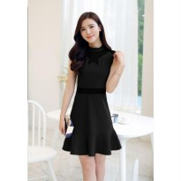 [DJ] Female perspective gauze sleeveless dress stitching flouncing package hip