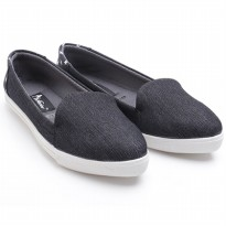 Dr.Kevin Ladies Flat Slip-On Shoes Bluebell 43171 Black