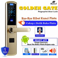 E-Guard Smart Digital Door Lock Quick Fingerprint ID Recognition, Card, Pin Kuncipintu Digital IdentifikasiSidikJari, Kartu, TidakDenganPemasangan MD1609 [Gold]