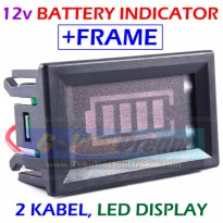 With Frame : 12v Battery Indicator Meter Progress Bar Baterai Aki Accu