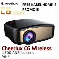 Cheerlux C6 Wireless Proyektor Projector WIFI 1200 ANSI Lumens