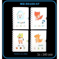 BUKU RING MIKA KECIL A6 WHITE ANIMAL CUTE WZ-50100-47