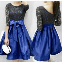 Dress Black Lace Blue Viona