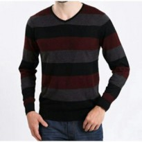 [Brother Joey] Sweater V Neck ZIGZAG / Knit Cotton / Rajut