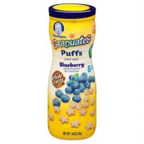 Gerber Graduates Puffs Cereal Snack Blueberry Size 42gr Flavour Blueberry Age 6M+