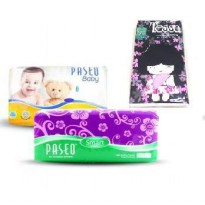 [1+1] Tissue Paseo Softpack 250's 2 Ply / 1 Paseo Baby Wipes 50's / 5 Pack Tessa Travel 50's